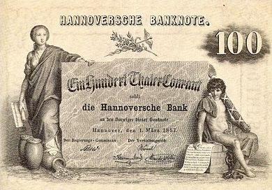 שטר בן 100 טאלר מנסיכות הנובר, 1857 (צילום מהוויקיפדיה)