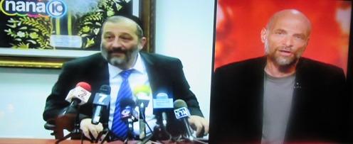 פרשן משה הנגבי ושר מועד אריה דרעי על המסך בערוץ 10: סיפור של ערכים