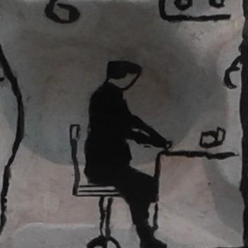 חדר 6 בדירה. האדם היושב, מאחוריו חלל המערה, קווי השולחן שוברים את האשליה.