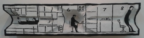 הדירה, חדרים 4-8, צילום לא מטופל. אדם שוכב, אדם יושב, אדם עומד, וביניהם חדר ארונות וחדר עם מדף.