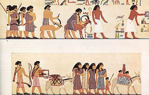 """ציור קיר מקבר בני חסן במצרים שבה מתוארת שיירת נוודים שמיים יורדת למצרים, אחד מהם מוזכר בשמו: """"אבישה"""" (או """"אבישר"""") המכונה """"היקסוס"""". ההיקסוס היו ידועים בשימוש נרחב בחמורים, ומבחינת החימוש הביאו למצרים, מלבד השימוש ברכב הברזל, את הקשת המורכבת, כמו זו המצויה בידי הקשת משמאל (צילום מהוויקיפדיה)."""